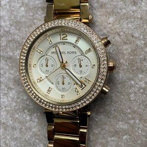 Michael Kors gold diamond studded watch